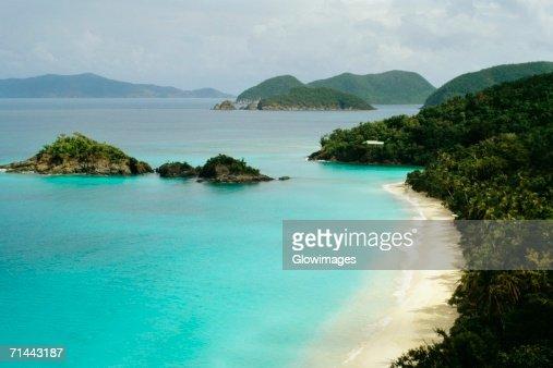 Aerial view of a bay, Trunk Bay, St. John, U.S. Virgin Islands