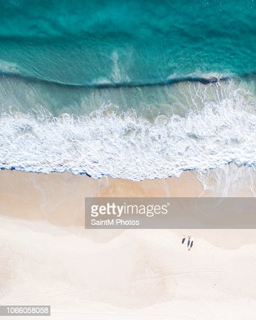 Aerial view of a beach and water. : Stock Photo