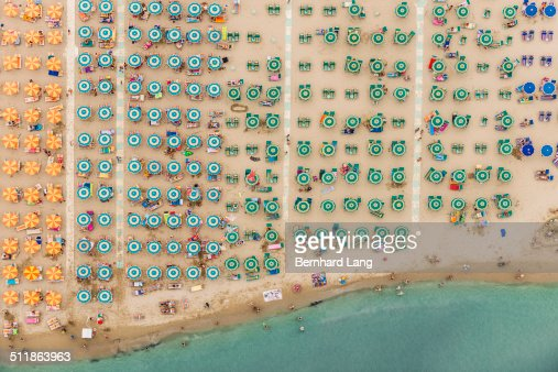 Aerial View of a beach resort with parasols