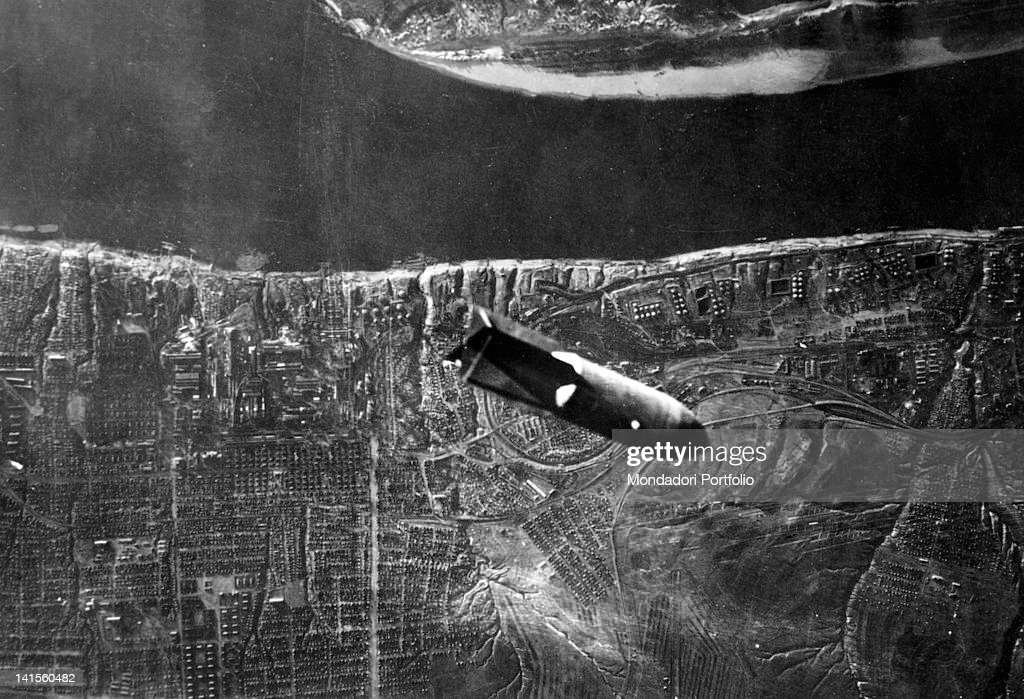 Aerial view of a bomb dropped by a German bomber over Stalingrad today Volgograd September 1942