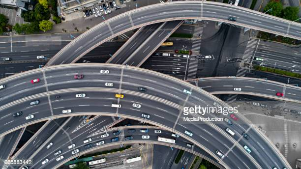 Aerial view of a busy junction from directly above