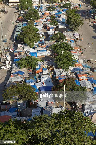 Aerial view of a camp on the Champs de Mars taken on September 10 2010 in PortauPrince An United Nations report on the impoverished Caribbean state...