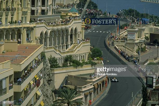 Aerial view of a Canon Williams driver during the Monaco Grand Prix at the Monte Carlo circuit in Monaco Mandatory Credit Pascal Rondeau/Allsport