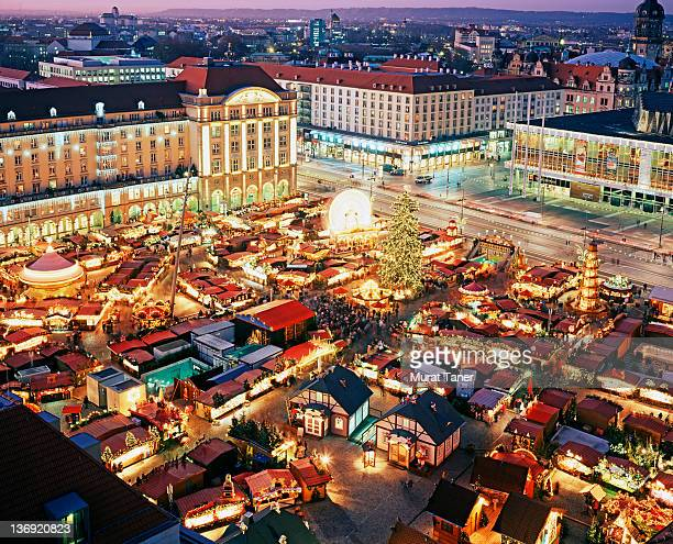 Aerial view of a Christmas market