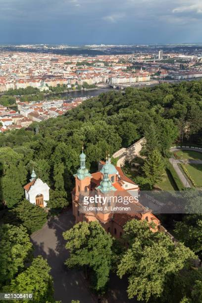Aerial view of a church at the Petrin Hill in Prague