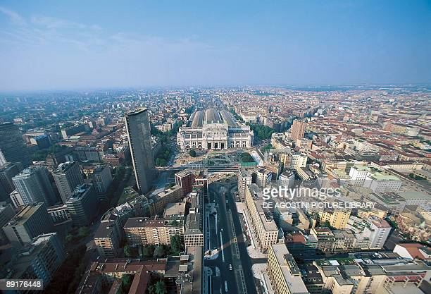 Aerial view of a city Milan Lombardy Italy