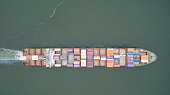 aerial view of a container ship
