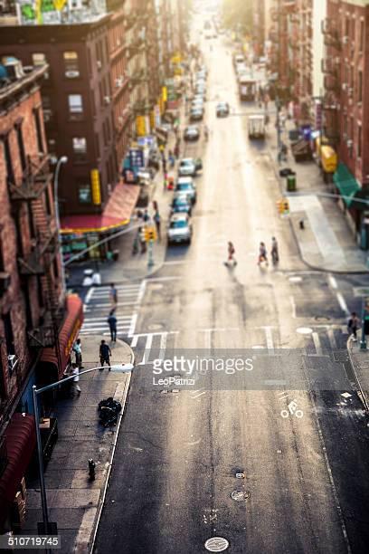 Luftbild von einer Ecke in Chinatown, New York