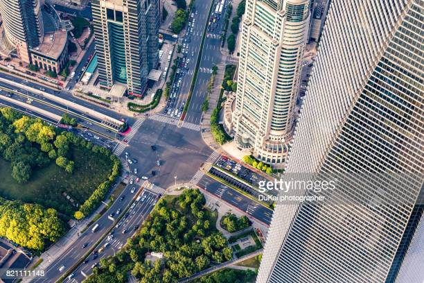 Aerial View of a Crossroad shanghai