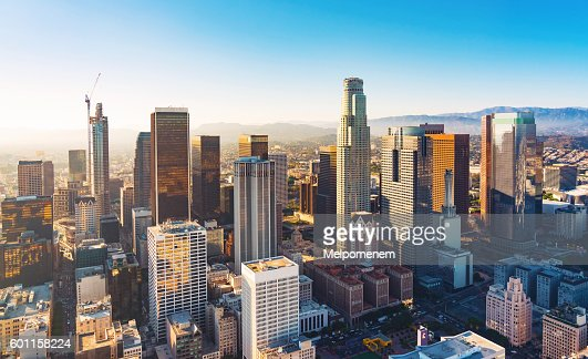 Aerial view of a Downtown LA at sunset : Stock Photo