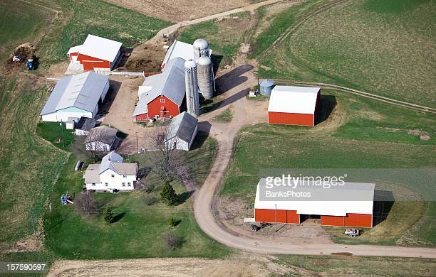 Aerial View of a Farm in Early Spring