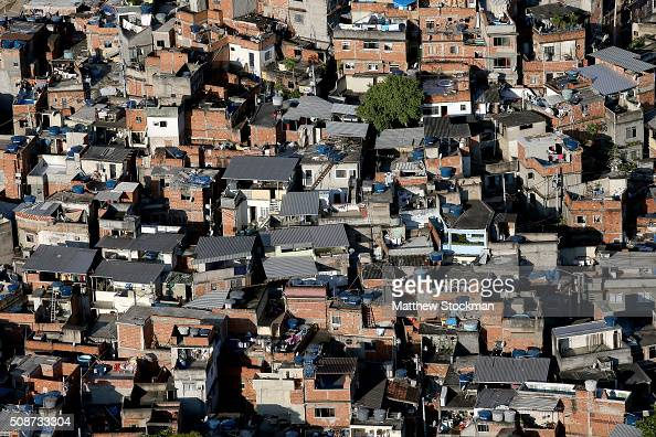 Aerial view of a favela with six months to go to the Rio 2016 Olympic Games on February 5 2016 in Rio de Janeiro Brazil