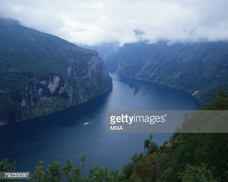 Aerial view of a fiord in Norway : Stock Photo