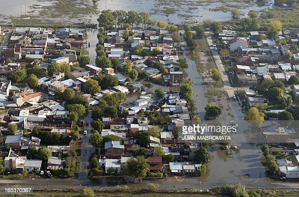 Aerial view of a flooded area in the outskirts of La Plata Argentina on April 3 2013 Massive flooding killed 54 people in and around Buenos Aires...