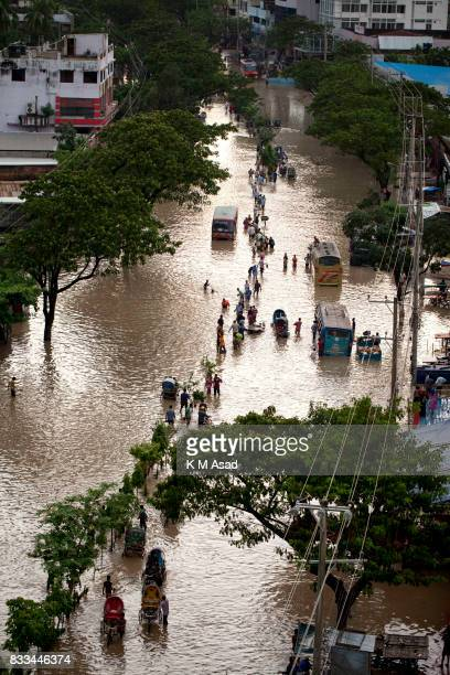 AGRABAD DHAKA CHITTAGONG BANGLADESH Aerial view of a flooded area of Chittagong People traveling in flooded areas in Chittagong Chittagong city is...