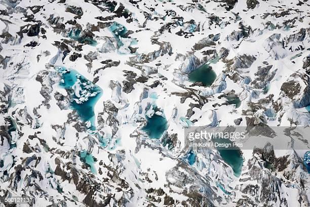 Aerial view of a glacier in the Alaska range, Interior Alaska