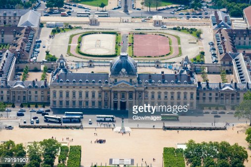 Aerial view of a government building, Ecole Militaire, Paris, France : Stock Photo