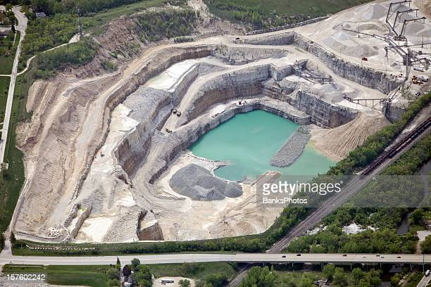 Aerial View of a Large Quarry and Rock Crushing Operation