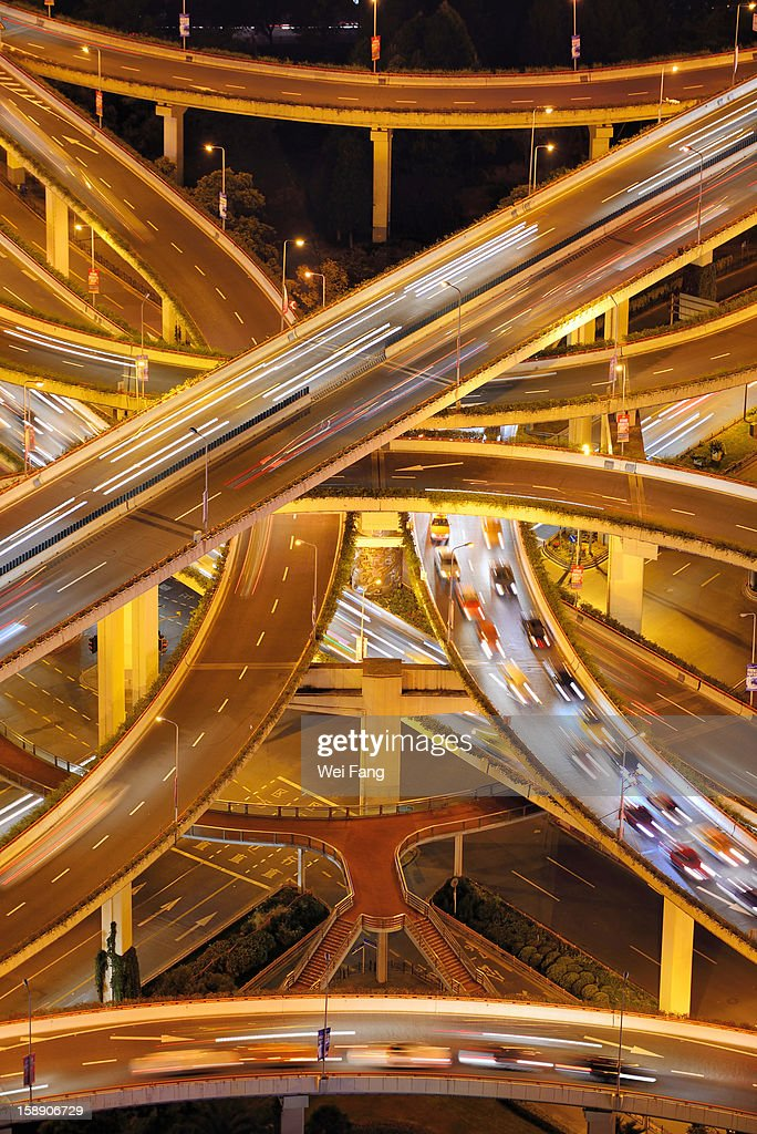 Aerial View of A Multi-Level Stack Interchange : Stock Photo