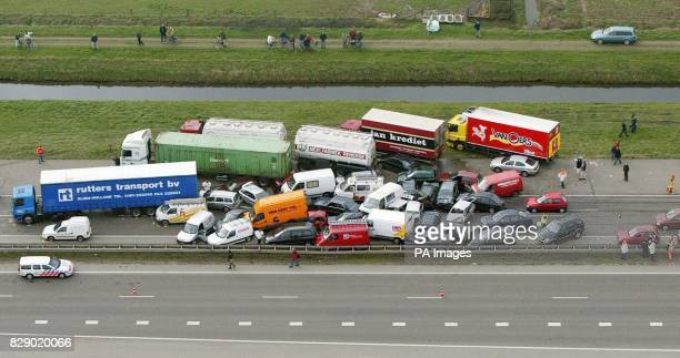 Aerial view of a multiple collision near Nijmegen at the A15 highway early Tuesdaymorning 23 March 2004 the Netherlands About 50 cars were involved...
