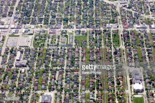 Aerial View of a Neighborhood Near Milwaukee Wisconsin