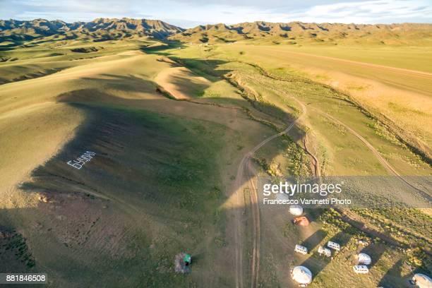 Aerial view of a nomadic camp. Bayandalai district, South Gobi province, Mongolia.