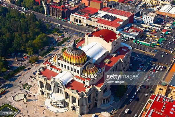 Aerial view of a palace, Palacio De Bellas Artes, Mexico City, Mexico