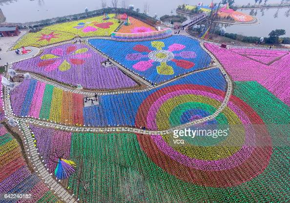 Aerial view of a park decorated with over 400000 windmills on February 16 2017 in Chengdu China