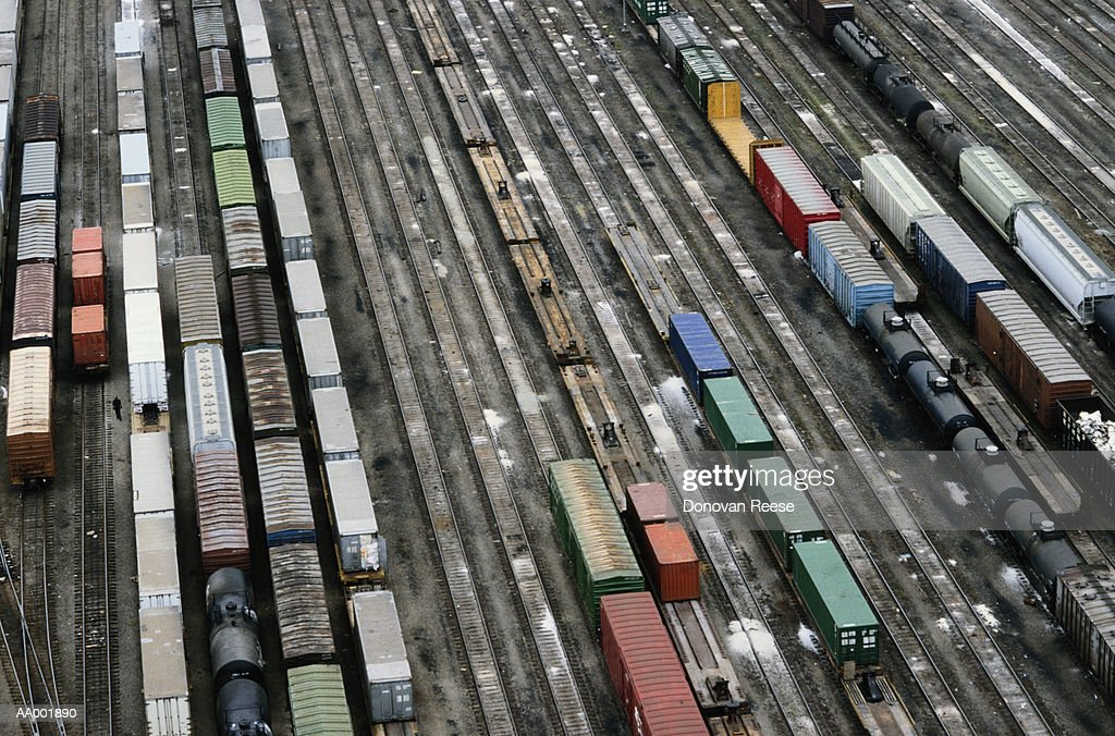 Aerial View of a Railroad Yard : Stock Photo