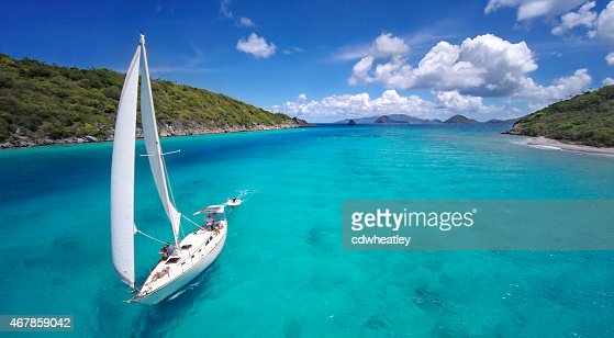 aerial view of a sailboat travelling through the Caribbean