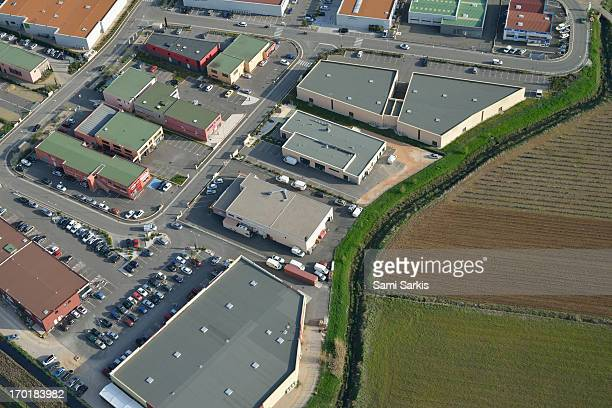 Aerial view of a shopping center