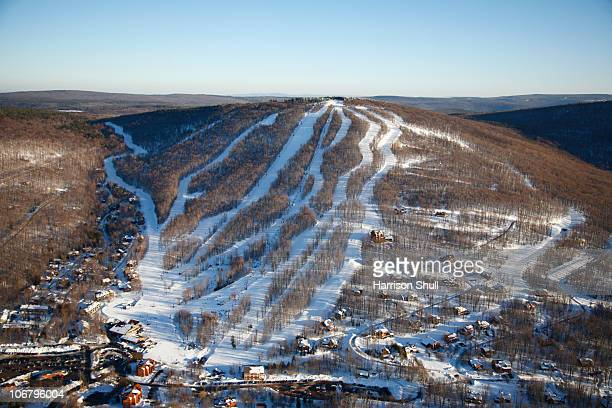 Aerial view of a ski resort in Canaan Valley, West Virginia.
