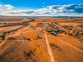 Aerial view of a small town in vast plains of South Australian outback