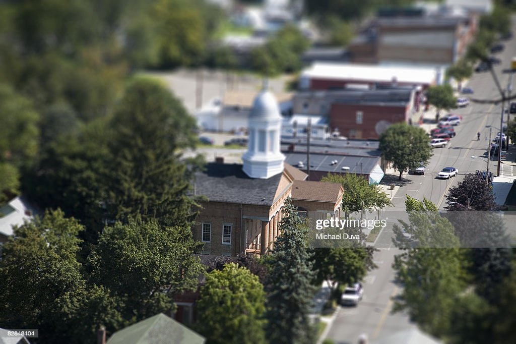 aerial view of a small town street with cars : Stock Photo