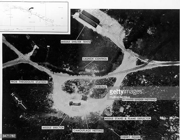 Aerial view of a Soviet Medium Range Ballistic Missile site with notations indicating the placement of a launch control center a missile erector and...