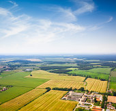 Aerial view of a Suburban area , Agriculture