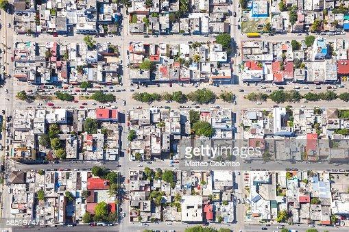 Aerial view of a suburban neighborhood, Mexico