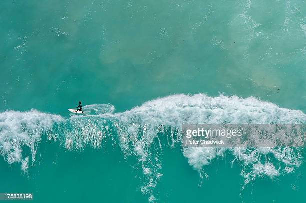 Aerial view of a surfer, Western Cape Province, South Africa, Arniston
