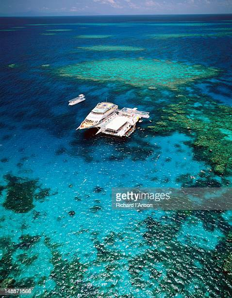 Aerial view of a tour boat docked at a pontoon on Agincourt Reef in the Great Barrier Reef.