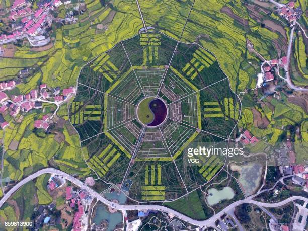 Aerial view of a tourist attraction featuring the shape of a giant Bagua at Pipa Village on March 27 2017 in Zunyi Guizhou Province of China The...