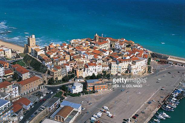 Aerial view of a town Termoli Molise Italy