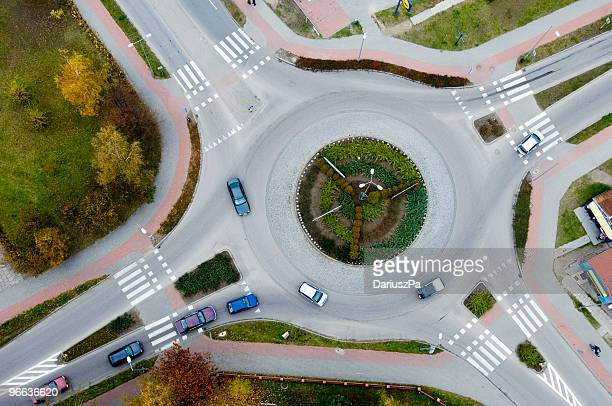 Aerial view of a traffic roundabout