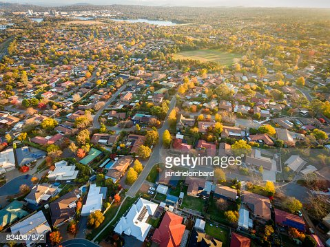 Aerial view of a typical suburb in Australia : Stock Photo
