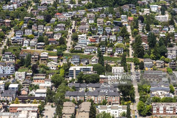 Aerial view of a upscale residential district in Seattle, USA