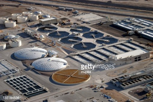Aerial view of a water reclamation plant