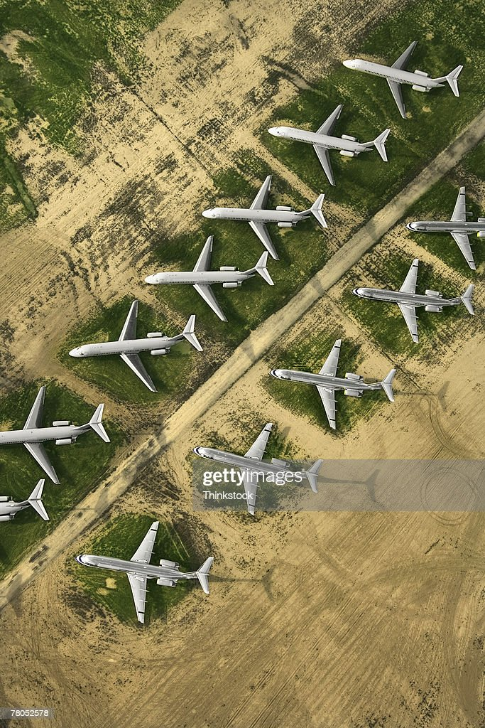 Aerial view of airplane graveyard, Mojave, California