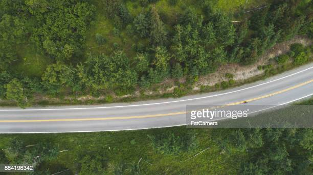 Aerial view of Alaskan highway and forest