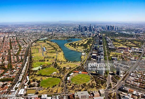 Aerial view of Albert Park, Melbourne, VIC, Australia