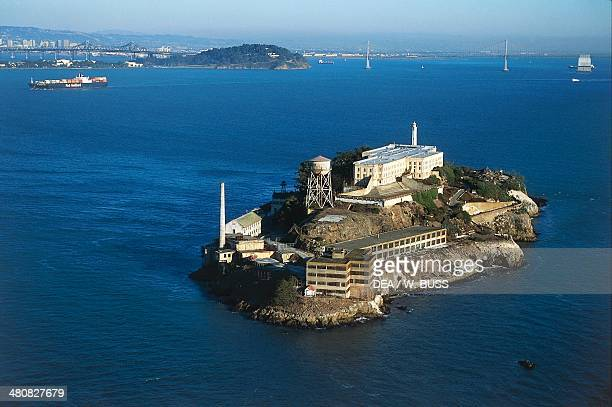 Aerial view of Alcatraz Island with The Rock maximum security federal penitentiary from 1934 to 1963 San Francisco Bay California United States of...