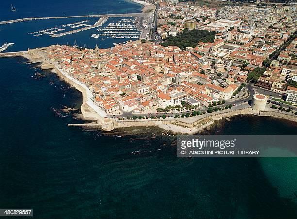 Aerial view of Alghero Province of Sassari Sardinia Region Italy